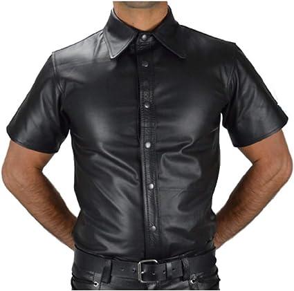 Top Totty hombres elegante sexy cuero manga corta Tops camisa ...