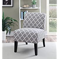MYCO Furniture Panama Quatrefoil Accent Chair, Grey