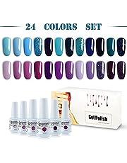 Vishine Gel Nail Polish 24pcs Soak Off Gel Nail Polish Kit Nail Art Manicure Pedicure New Starter Blue Pink Purple Color Gift Set
