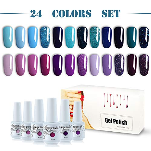 Vishine Gel Nail Polish 24pcs Soak Off Gel Nail Polish Kit Nail Art Manicure Pedicure New Starter Blue Pink Purple Color Gift Set