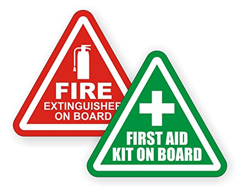 2-inch Fire Extinguisher | First Aid Kit on Board Vinyl Jeep Decals | Off Road 4x4 Stickers | Labels Tactical Survival SOS
