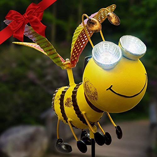 Solar Garden Stake Lights - Bee with Solar Light Eyes and Rotating Wings - Outdoor Lawn Decor Garden Decoration, Yard Art Décor, Lawn Ornament - Unique Gift - Stake 43