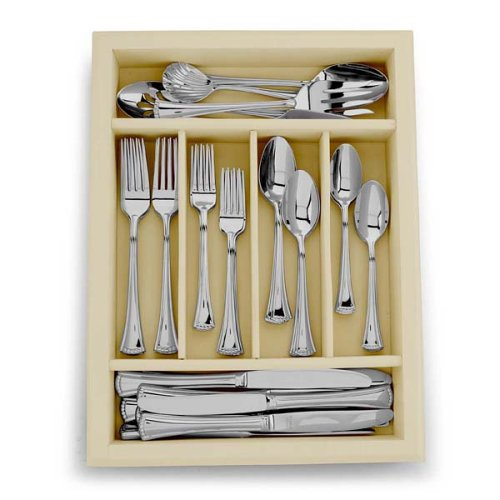 Lenox Butler's Pantry Frosted 45-Piece Stainless-Steel Flatware Set with Caddy, Service for ()