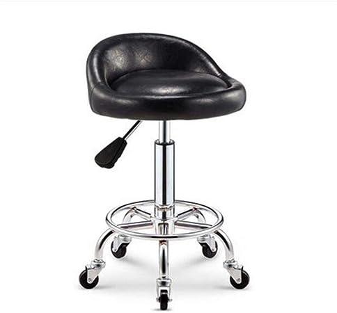 Sgabello girevole con ruote e supporto per schiena colore nero parrucchiere computer con ruote negozio cucina spa per ufficio altezza regolabile