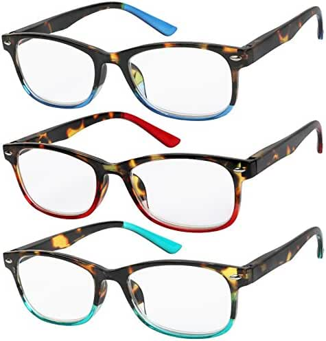 Reading Glasses Set of 3 Great Value Spring Hinge Ombre Color Readers Men and Women Glasses for Reading