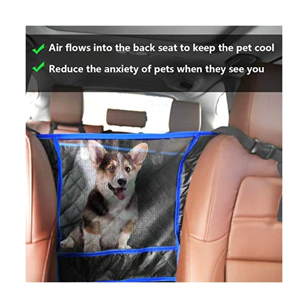 SUPSOO Dog Car Seat Cover Waterproof Durable Anti-Scratch Nonslip Back Seat Pet Protection Dog Travel Hammock with Mesh Window and Side Flaps for Cars/Trucks/SUV 2