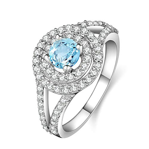 Adisaer-Eternity Wedding Band Ring 925 Sterling Silver Plated Ring LW 5X5Mm Double Round Blue Topaz Ring Size 6.5