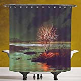 Fun Shower Curtain 3.0 [Fantasy House Decor,Illustration of Mystic Night Landscape with Tree by River Dramatic Sky,Peacock Orange] Polyester Fabric Bathroom Shower Curtain