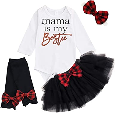 Newborn Infant Baby Girl Outfit Sets Funny Print Romper Headband Leg Warmers Tulle Skirts
