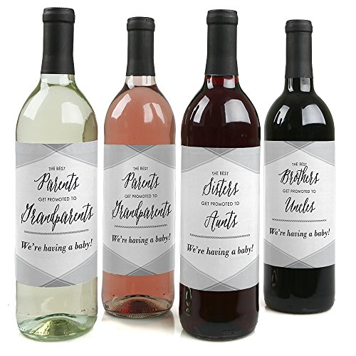 Family Pregnancy Announcement Wine Bottle Labels  Set of 4