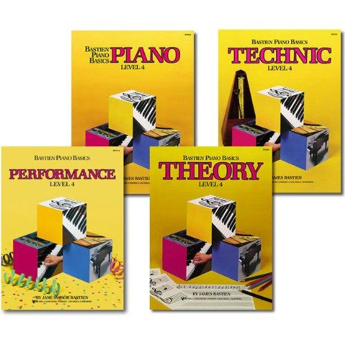 Set of 4 Bastien Piano Basics Level 4 Books - Piano - Performance - Technic - Sight Reading