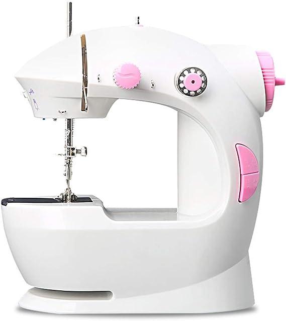 XIKONG Mini Máquina De Coser De Mano Eléctrica Máquina De Reparación De Luz Incorporada Máquina De Coser De Pedal De Costura De Dos Líneas Y Dos Velocidades,Pink: Amazon.es: Hogar