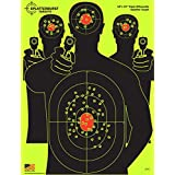 """25 Pack - 18""""x 24"""" Triple Silhouette SPLATTERBURST Shooting Targets - Instantly See Your Shots Burst Bright Fluorescent Yellow Upon Impact - Great for all firearms, rifles, pistols, AirSoft, BB and Pellet guns!"""