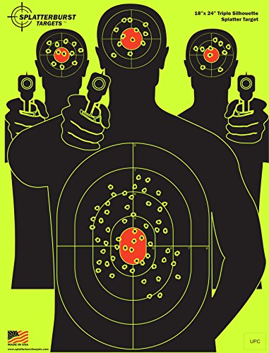 Splatterburst Targets - 18 x 24 inch - Triple Silhouette Reactive Shooting Target - Shots Burst Bright Fluorescent Yellow Upon Impact - Gun - Rifle - Pistol - AirSoft - BB Gun - Air Rifle