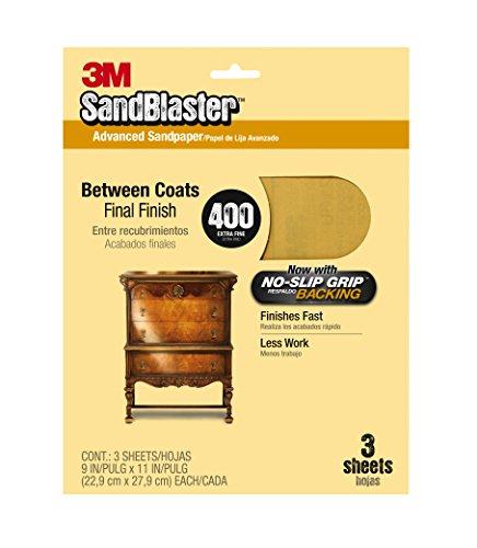 3M SandBlaster Between Coats Sandpaper, 400-Grit, 9-Inch by 11-Inch