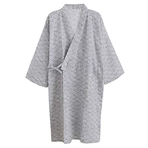 Women Men Kimono Robe Bathrobe Cotton Sleepwear Dressing Gown Loose Loungewear
