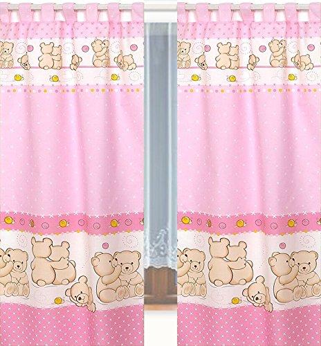 Tab Top cortinas y abrazaderas para la habitaci/ón del beb/é  rosa #7 Pink Teddies