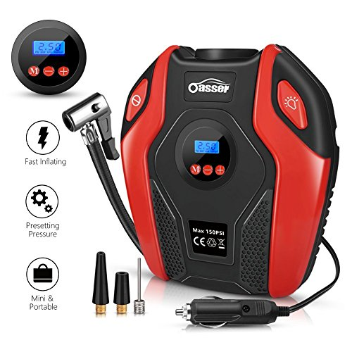 Oasser Air Compressor Tire Inflator Pump Electric Portable Air Infaltor with Digital LCD LED Light Auto Tire Pump 12V DC 150 PSI for Car Truck Bicycle RV and Other Inflatables P6 by Oasser