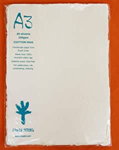 Khadi Paper from India- 12x16 Inch 140lb. Pack of 20 Sheets