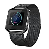 """Fitbit Blaze Bands with Frame Metal Small Large ( 5"""" - 9.4""""), Swees Stainless Steel Magnetic Milanese Replacement Band for Fitbit Blaze Women Men, Black, Silver, Colorful, Champagne Gold, Rose Gold"""