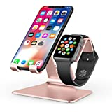 Apple Watch Stand, OMOTON 2 in 1 Universal Desktop Stand Holder for iPhone and Apple Watch (Both 38mm/40mm/42mm/44mm) (Rose Gold)
