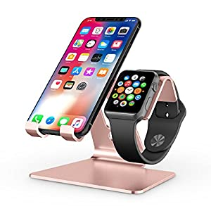 Apple Watch Stand, OMOTON 2 in 1 Universal Desktop Stand Holder for iPhone and Apple Watch Series 6/5/4/3/2/1 and Apple…