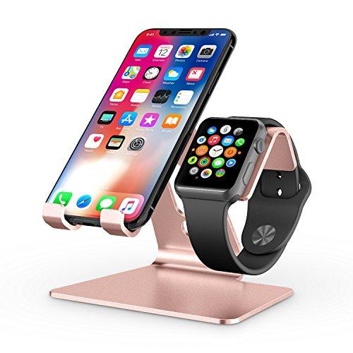(Apple Watch Stand, OMOTON 2 in 1 Universal Desktop Stand Holder for iPhone and Apple Watch (Both 38mm/40mm/42mm/44mm) (Rose Gold))