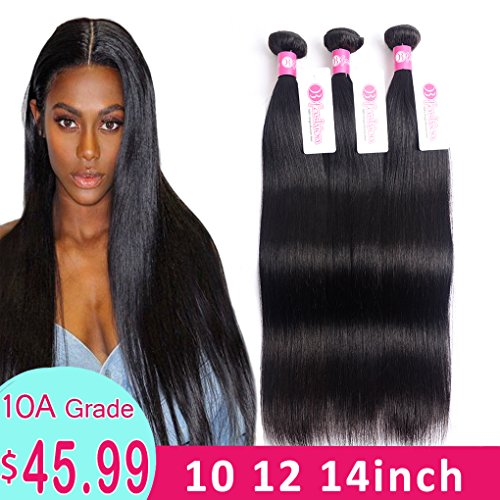 10A Brazilian Hair 3 Bundles Straight Human Hair 10 12 14...