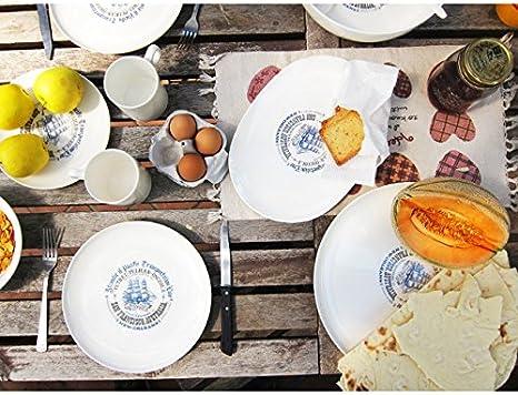 cartaffini/ bolsa /Juego de platos llanos de barco velero 16/piezas de melamina