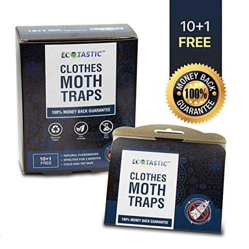 Moth Traps - Keep Clothes Safe - Moth Repellent - Clothes Moth Traps - 11 Pheromone Traps - Child/Pet Safe/Insecticide Free - Moth Prevention Repellent - Protection Clothes/Wool/Carpet - Moth Balls