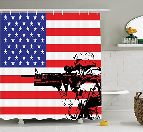 Ambesonne American Decor Collection, American Flag Themed Monogram USA Military Soldier with M16 Rifle Sketchy Image, Polyester Fabric Bathroom Shower Curtain Set with Hooks, Blue Red White