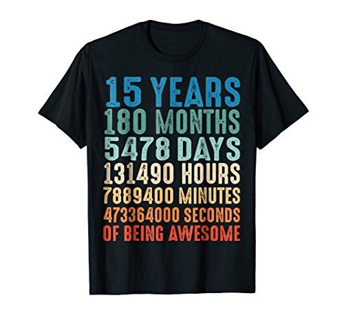 15 Years Old 15th Birthday Vintage Retro T Shirt 180 Months