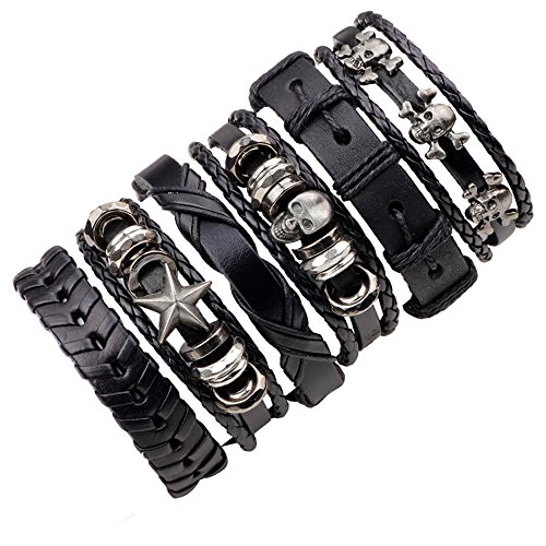 Cool Punk style rock star skull bracelet 6 pcs set for mens (Punk Rock Accessories)