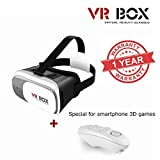 MacBerry 3D VR BOX 2.0 Virtual Reality Glasses With Bluetooth Remote Control (Color may vary)
