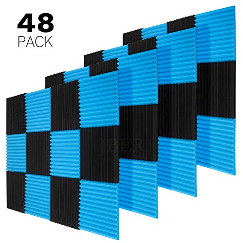 JBER 48 Pack Blue/Charcoal Acoustic Panels Studio Foam Wedges Fireproof Soundproof Padding Wall Panels 1
