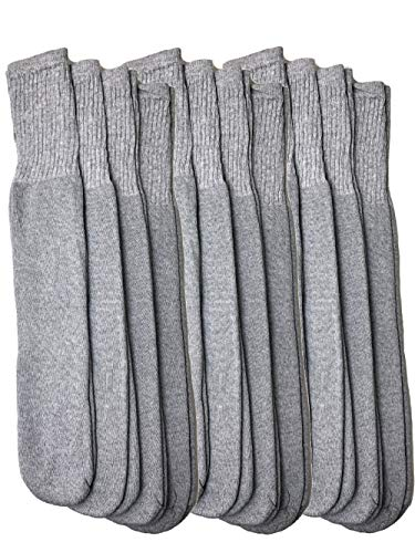 Mens Over The Calf Tube Socks Bulk Long Tube Socks Big and Tall Long 12 Pack (Grey) (Mens Gray Tube Socks)