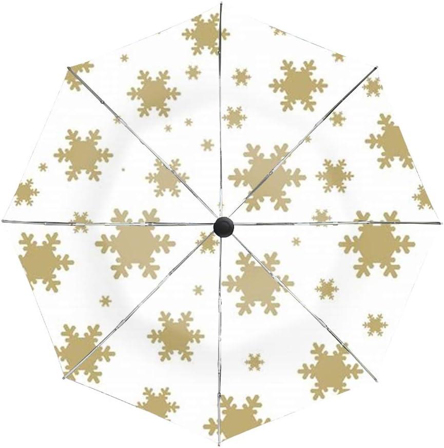 Automatic Compact Travel Umbrella Teflon Auto Open Close Folding Strong Windproof Brown Snow Umbrella