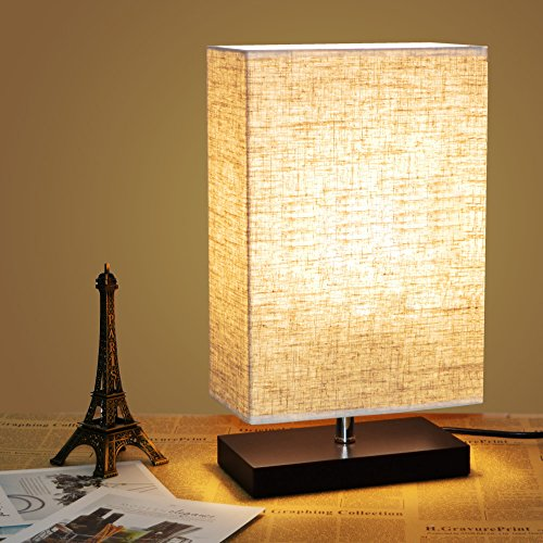 Zeefo Wood Table Lamp Retro Solid Wood And Fabric Shade