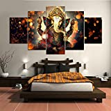 5 Pcs Indian God Ganesh Deity Abstract Canvas - 5 piece Ganpati Bappa Maurya Canvas For Your Home/Office Room (30x40cmx2,30x60cmx2,30x80cmx1)