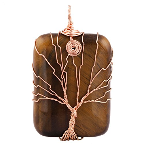 SUNYIK Tiger's Eye Stone Oblong Tree of Life Pendant Necklace,Handmade Copper Wire Wrapped Jewelry Oblong Stone