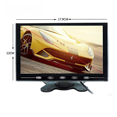 Camecho HD 9 Inch Monitor 800x480 TFT Color Screen, 2 Video Input/HDMI/VGA, Support Mini PC Display, Car Backup,CCTV, Home Security, with Remote Control by Camecho (Image #3)