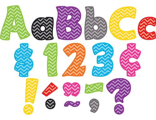 Teacher Created Resources 5454 Chevron Funtastic 4-Inch Letters Combo Pack (Letters For Bulletin Boards)