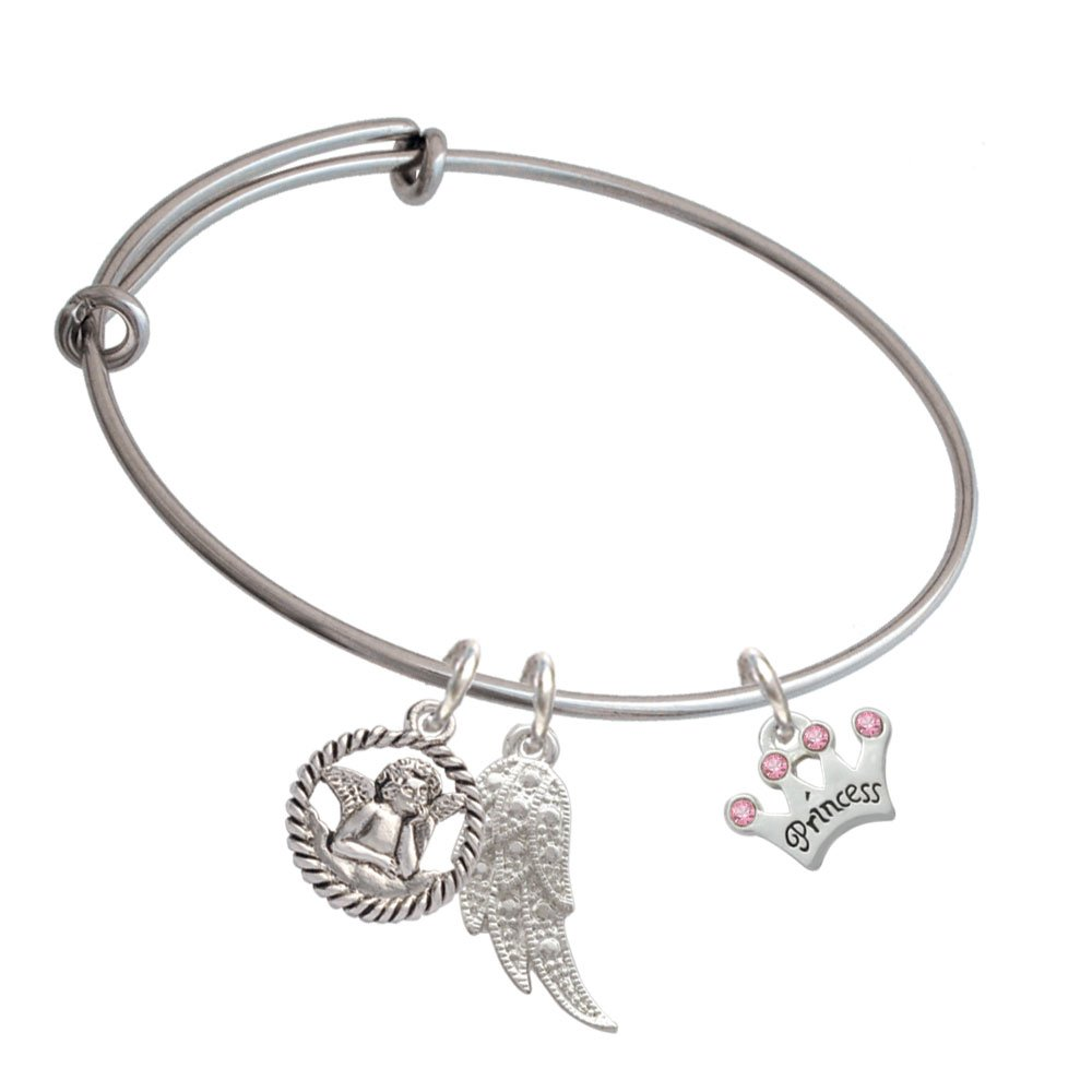 Silvertone Small Princess Crown with Pink Crystals Angel Expandable Bangle Bracelet