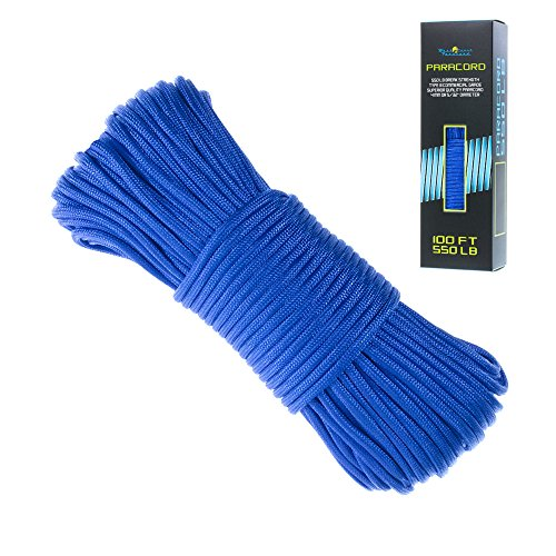 - 550 Paracord Bracelet Parachute Cord - 7 Strand Type III Paracord Rope - Multiple Colors in 100 Feet