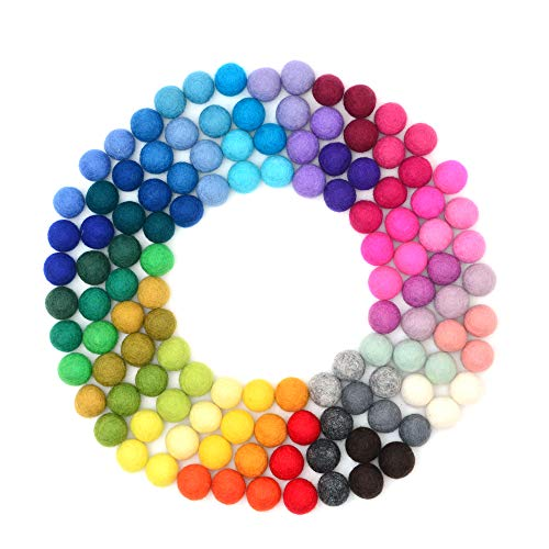 Glaciart Felt Pom Poms, Wool Balls (120 Pieces) Handmade Felted 40 Color (Red, Pink, Blue, Orange, Yellow, Gray, Black, White, Pastel & More) 1.5 cm – 0.6 Inch, Bulk Small Puff for Felting & Garland