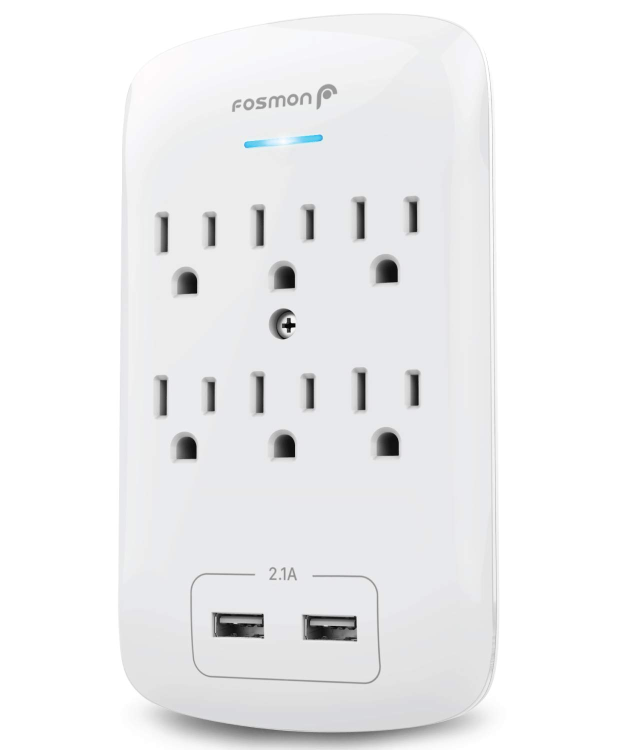 Fosmon C-10685 6 Outlet USB Surge Protector, 3-Prong Wall Mount Adapter Tap with 2 Dual USB Port Charger 2.1A Quick Charging, 1875 Watts Indoor, Grounded, ETL Listed, White