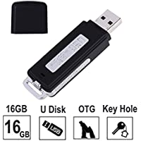 Voice Recorder-16GB USB Portable Digital Audio Voice Recorder- No Flashing Light When Recording-Use as Dictaphone,One Button Recording, Compatible with Windows and Mac,Android OTG