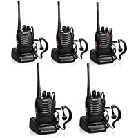 Baofeng BF-888S Rechargeable Long Range 5W Two Way Radio Walkie Talkies 16 Channel Handheld Radio Built in LED Torch Microphone With Earpiece(Pack of 5) 5 Pack