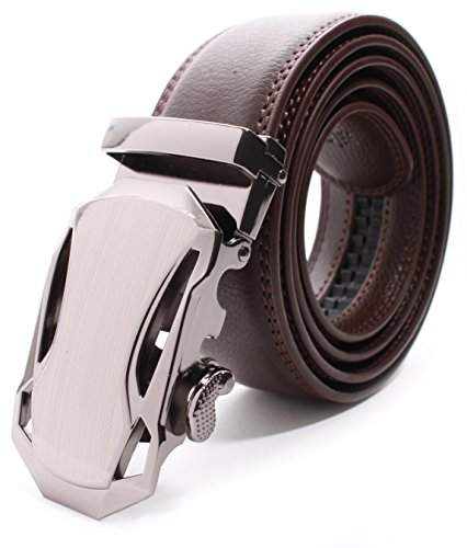 Mens Premium Leather Dress Belt (The Russell Benning Collection Premium Leather Ratchet Belt (Large Brushed Metallic with Brown)