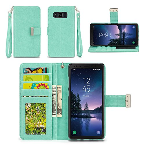 Samsung Galaxy S8 Active Case - IZENGATE [Classic Series] Wallet Cover PU Leather Flip Folio with Stand (Mint)